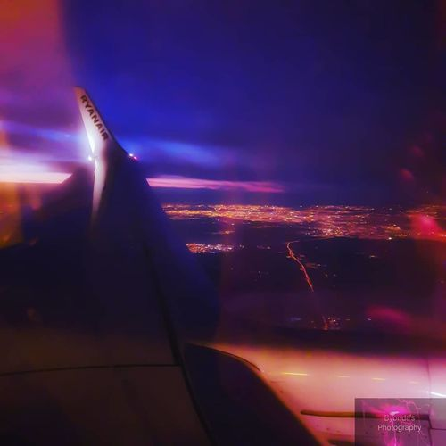 City Airplane Commercial Airplane Astronomy Aerospace Industry Illuminated Cityscape Flying Plane Air Vehicle