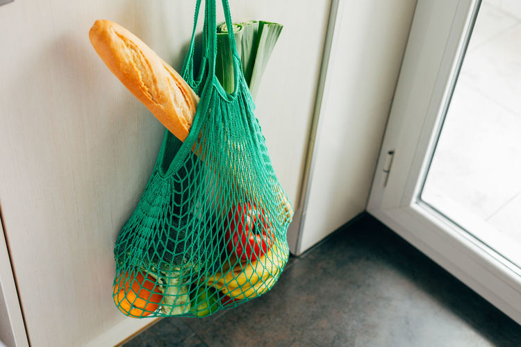 Baguette Eco Fashion Green Mesh Shopping Vegetables & Fruits Vegetarian Cotton Ecological Fashionable Green Color Home Interior Indoors  Kitchen Mesh Bag Meshpics Mint Color Net Bag No People Reusable Reusable Bag Shopping Bag String Bag Trendy