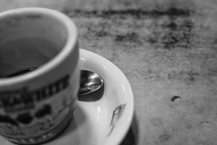 Pentacon A7RII Sonyalpha Snapseed Blackandwhite Bnw Bw Bnwsociety Zisunword Cup Coffee Spoon Mood Drink Food And Drink Refreshment Table Selective Focus Close-up Drinking Glass No People Indoors  Food Stories