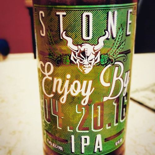"My first @stonebrewingco ""Enjoy by"" series. This one is to be enjoyed by Hitler's birthday. Lol... 420 Stonebrewing Beer Booze Beers IPA Whatimdrinking"