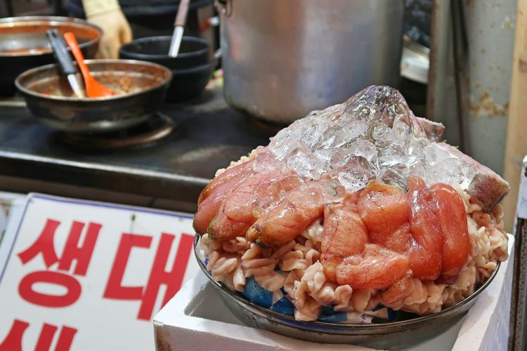 Close-up of seafood in container