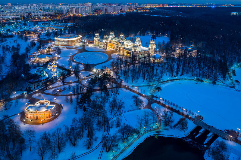 High angle view of illuminated city during winter