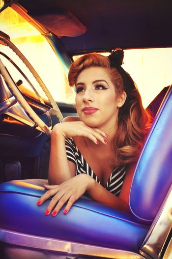 Jennifer M. Vintage shoot Vintage Modeling Gorgeous Laying Down Rockabilly Car Model Old Soul  50's Style Anonymousnate Dangeriouslysexy
