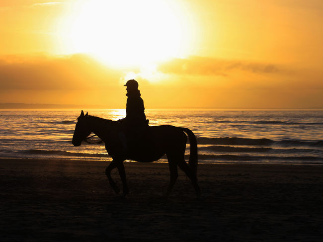 """I""""m a poor lonesome Cowboy .... Inas Sunset Beach Beauty In Nature Horizon Horizon Over Water Instagram Land Leisure Activity Nature Real People Riding Sea Silhouette Sky Snapchat Sun Sunset Water"""