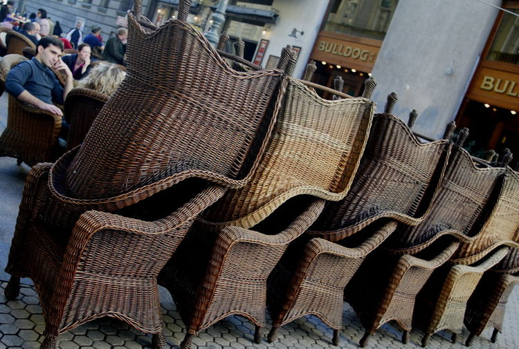 Armchairs Armchairs Outside Chair Chairs Chairs Seats Close-up Day One Man One Man Sitting Outdoors Rattan Rattan Armchairs Rattan Chair Rattan Seats Rattan Work Seats Terrace