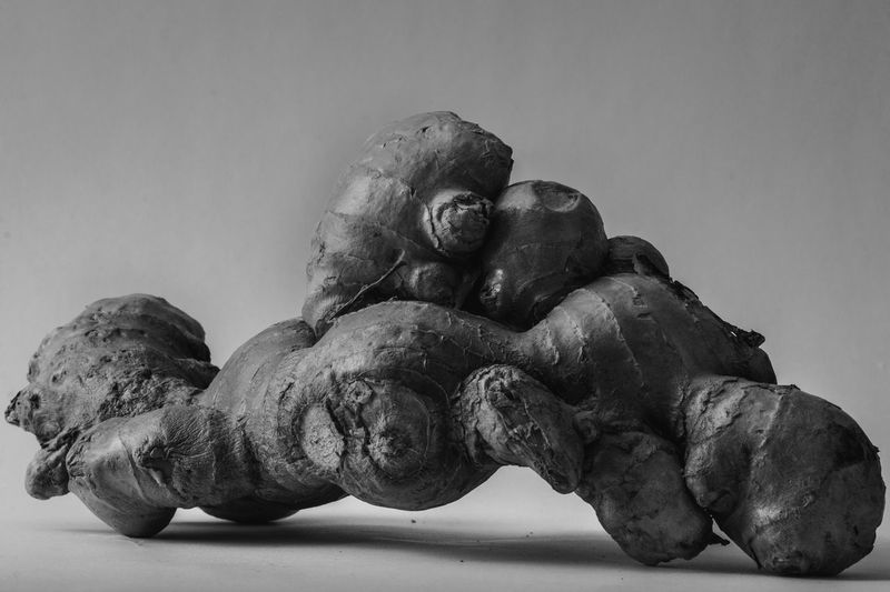 Direct shot of a piece of ginger in the Ansell Adams black and white style. Art And Craft Close-up Craft Creativity Day Human Representation Indoors  Low Angle View Male Likeness Nature No People Old Representation Sculpture Statue Still Life Studio Shot Vegetable Wellbeing