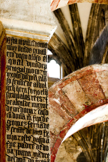 Old Arch War Text No People Architecture Communication Non-western Script Wood - Material Indoors  Reconquest Impressive SPAIN Time Close-up Day Focus On Foreground Script Built Structure Western Script Alhambra Andalucia Spain Century Quiet University