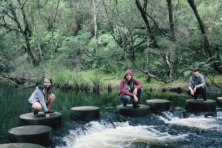 Leisure Activity Togetherness Nature Weekend Activities River Day Fun Real People Outdoors Beauty In Nature Friendship Family Kneeling Down Stepping Stones Love ♥ Children EyeEmNewHere