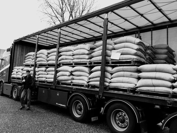 Coffee Mode Of Transport Transportation Real People Day Large Group Of Objects Stack Land Vehicle Outdoors Freight Transportation Food