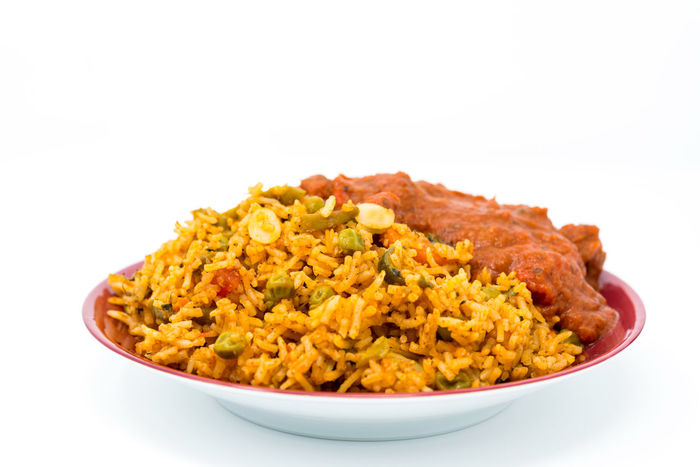 Close-up Curry Food Food And Drink Freshness Fried Rice Healthy Eating Indian Food No People Plate Ready-to-eat Rice Studio Shot White Background