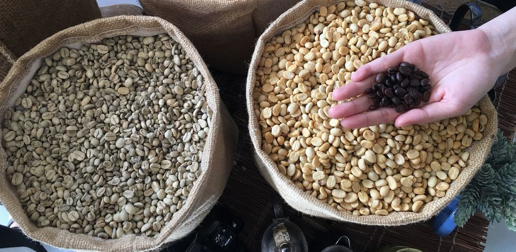 Cropped hand of person holding roasted coffee beans at market stall