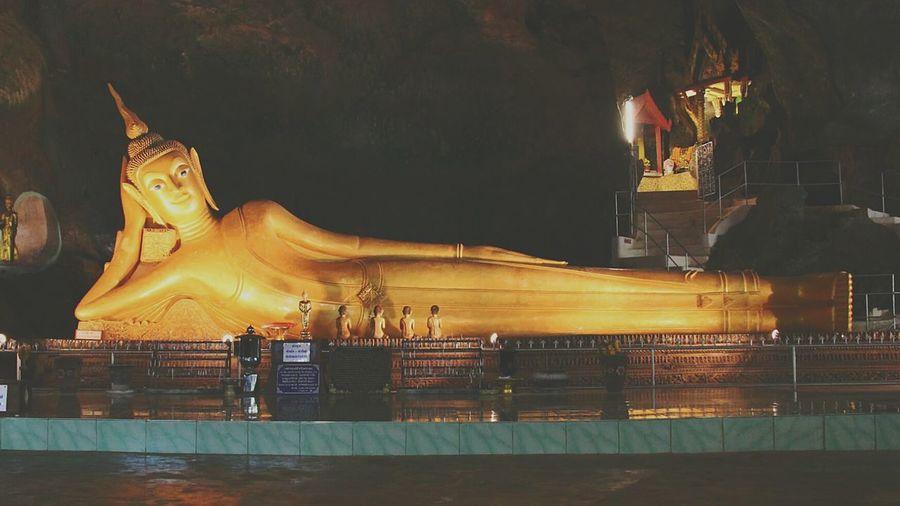 A giant Statue of Lord Buddha in Monkey Cave Temple Buddha Cave Temple 43 Golden Moments Wat Suwannakuha Phang Nga Spiritual Thailand Buddha Statue Buddha Temple Spotted In Thailand