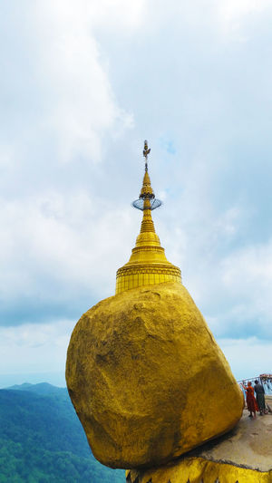 Kyaiktiyo Pagoda Against Cloudy Sky