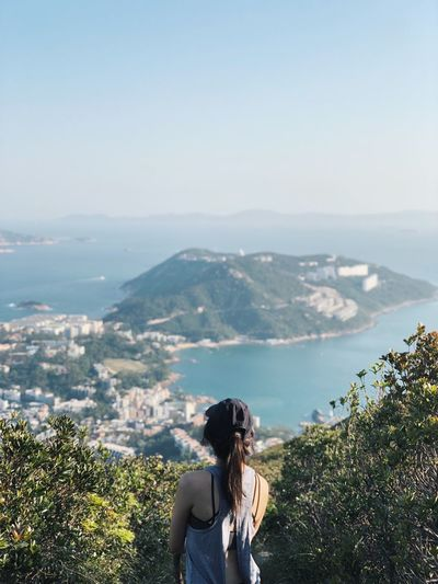 Hiking Trails Trails Hong Kong Trail Hong Kong Island Lookout Trekker Hiking Real People Sky Water Leisure Activity Beauty In Nature One Person Nature Young Women Scenics - Nature Mountain Sea Outdoors