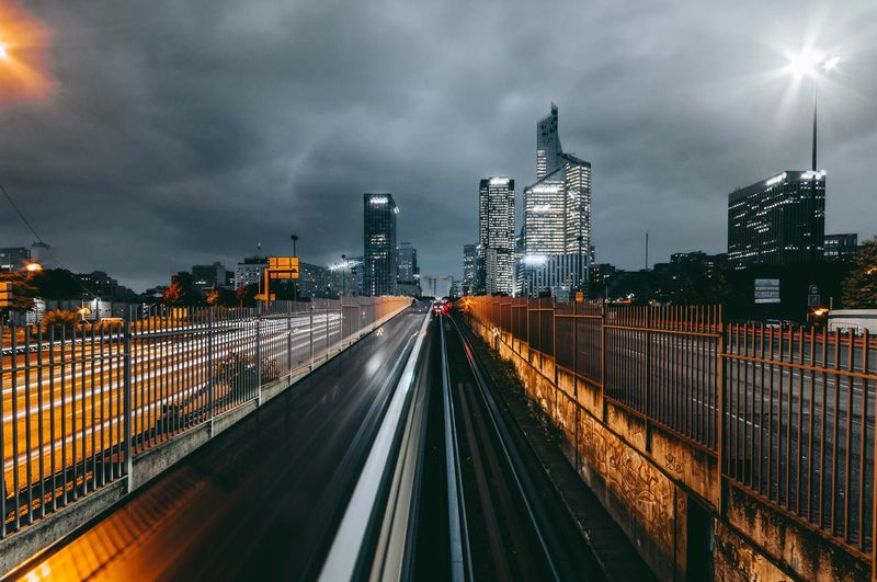 Architecture Built Structure Transportation Sky Cloud - Sky Building Exterior Illuminated Road City Connection Mode Of Transportation Street Night Direction Railing Motion Bridge - Man Made Structure Lighting Equipment