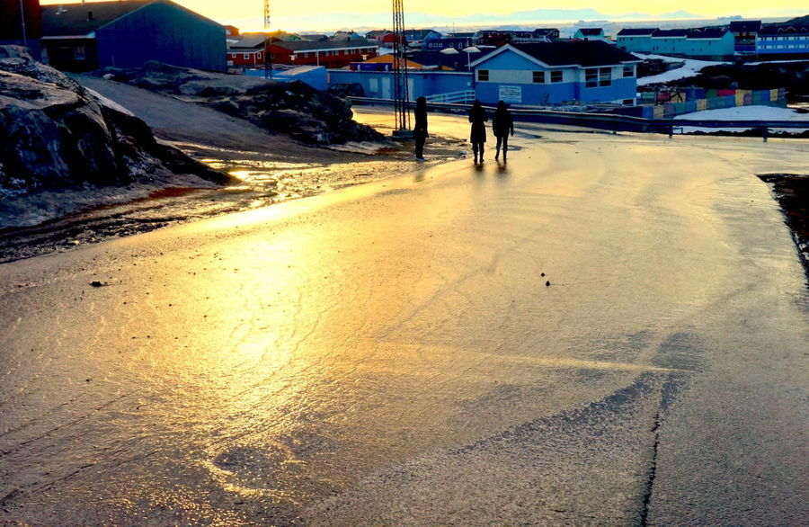 The spring has arrived. The melting snow covers the roads. Ilulissat The Real Greenland This Is Greenland Outdoors Road Street Sunlight Water