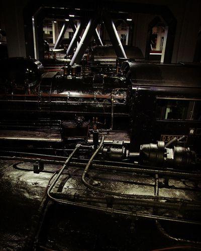 Night Illuminated No People Locomotive Locomotion Railway SL High Contrast Darkness And Light Black Indastrial Iron Kyoto Jyapan 京都鉄道博物館 蒸気機関車 鉄道