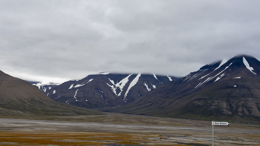 Scenic view of snowcapped mountains against sky svalbard