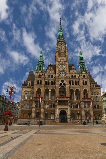Front view Town Hall building in the town of Liberec, Czech Republic Czech Façade Historical Building Neo-Renaissance Rathaus Square Architecture Building Exterior Built Structure City Cloud - Sky Day Dome Europe Front View History Low Angle View No People Outdoors Sky Town Hall Travel Destinations Been There. Stories From The City