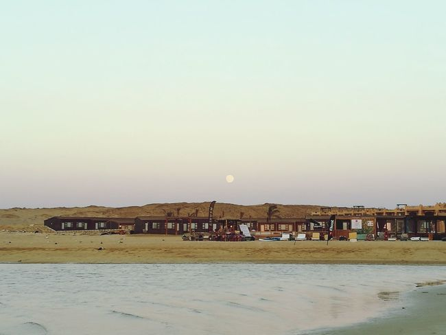 Fullmoon vs Sunset in Daylight Kitesurf Center RedSea Sinai Egypt