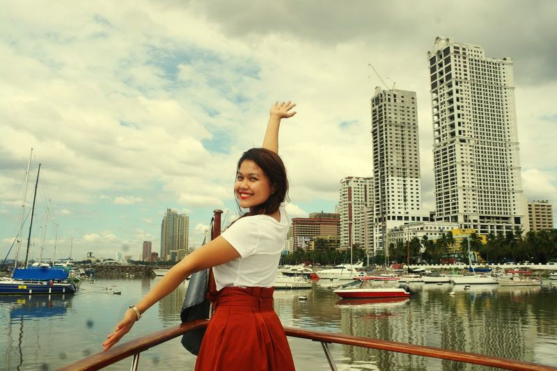 Let your dreams set sail Manila Bay  Filipina Portrait Asiangirl Filipina Beauty Woman Smiling Smile Vintage Photo Itsmorefuninthephilippines Philippines BeingYourself Urbanphotography Woman Portrait City Cityscape Water Urban Skyline Young Women Nautical Vessel Portrait Smiling Skyscraper Women Yacht Boat Deck Yachting