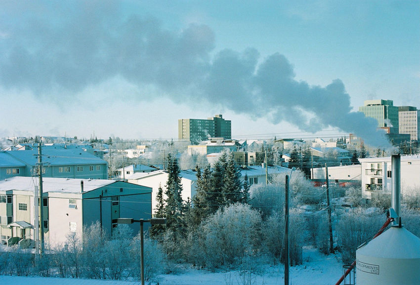 35mm Architecture Archoitectural Details Building Exterior Cityscape Film Filmisnotdead Northern Canada Portra400 Sky Skyline Winter Yellowknife