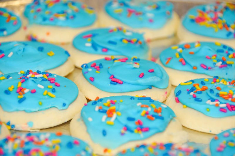 Party Cookies with Blue Icing and Sprinkles Close-up Colorful Delicious Dessert Flavor Food Food And Drink Freshness Indoors  Indulgence Multi Colored No People Party Pastries Ready-to-eat Sprinkle Sprinkles Sprinkles Cupcakes Sugar Sweet Food Tasty Temptation Treat Unhealthy Eating Yum