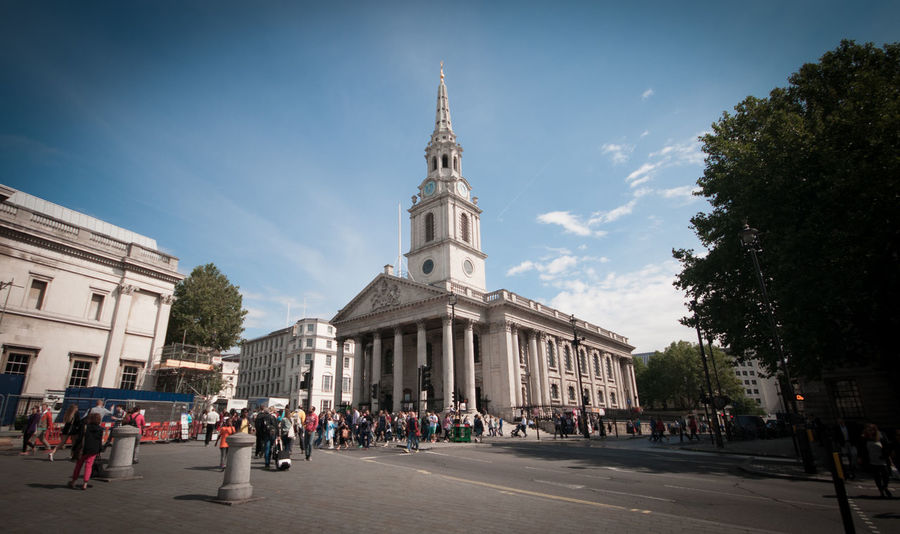Architecture Building Built Structure Church City Famous Place Historic London Piazza Religion St Martin-in-the-fields Tall Trafalgar Square