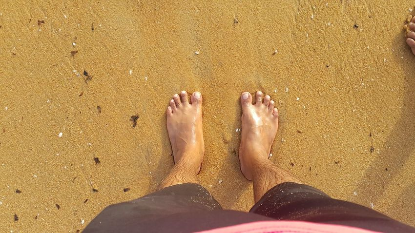 Legs_only Legs Sea Seaside Nice View Taking Photos Water Surface Beautiful Nature Yellow Sand Sand & Sea
