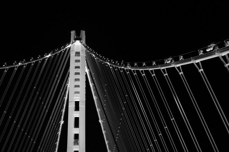 Bay Bridge 2000 Architecture Bridge Built Structure City Clear Sky Copy Space Low Angle View Night Place Sky Suspension Bridge Tourism Transportation Travel