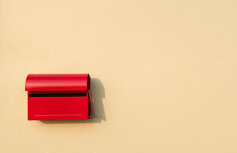 Red Copy Space Wall - Building Feature No People Indoors  Close-up Mailbox Security Metal Wall Post Postcard Mail