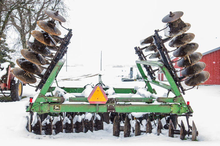 Agricultural Machinery Agriculture Canon60d Canonphotography Day Disk Farm Green John Deere Outdoors Sky Snow Snowing Spring Tree Weather White