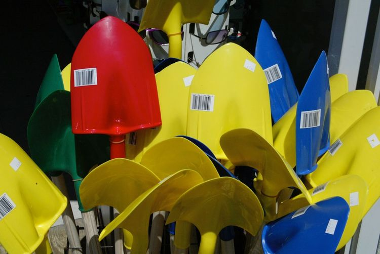 Bright Colors Colored Shovels Red Blue Yellow Green Boardwalk Photography Store Window