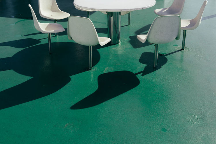 The Week on EyeEm Green Green Color Chair Day Light And Shadow Minimal Minimalism No People Seat Shadow Simplicity Table