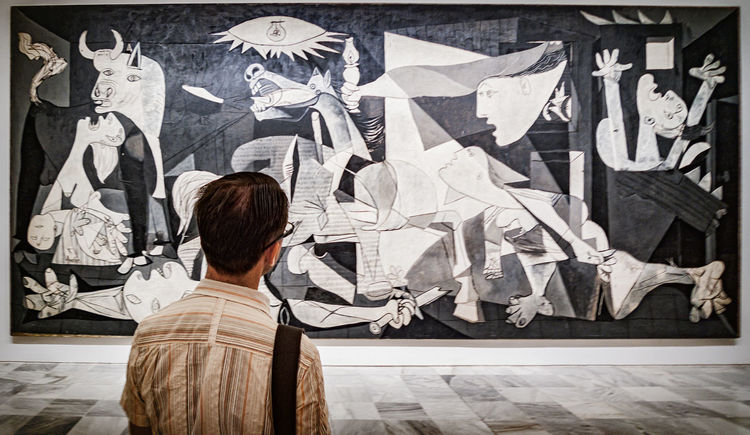 Alone with Pablo Picassos, Guernica, Madrid Spain Alone Gallery Guernica Madrid Pablo Picasso Painting Peace SPAIN Viewing War
