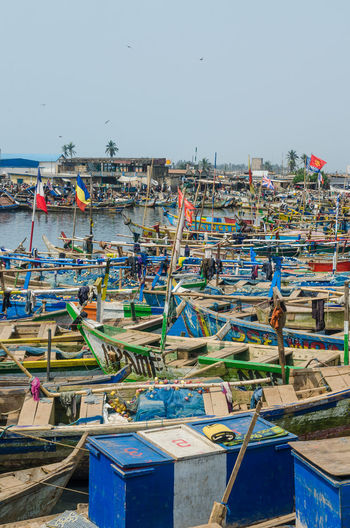 Elmina Harbour Harbor Fishing Boats Africa Ghana African Fishing Boat Flags