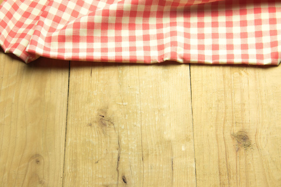Copy Space Red Wood Fabric Hard Wood Plaid Plank Table Wooden
