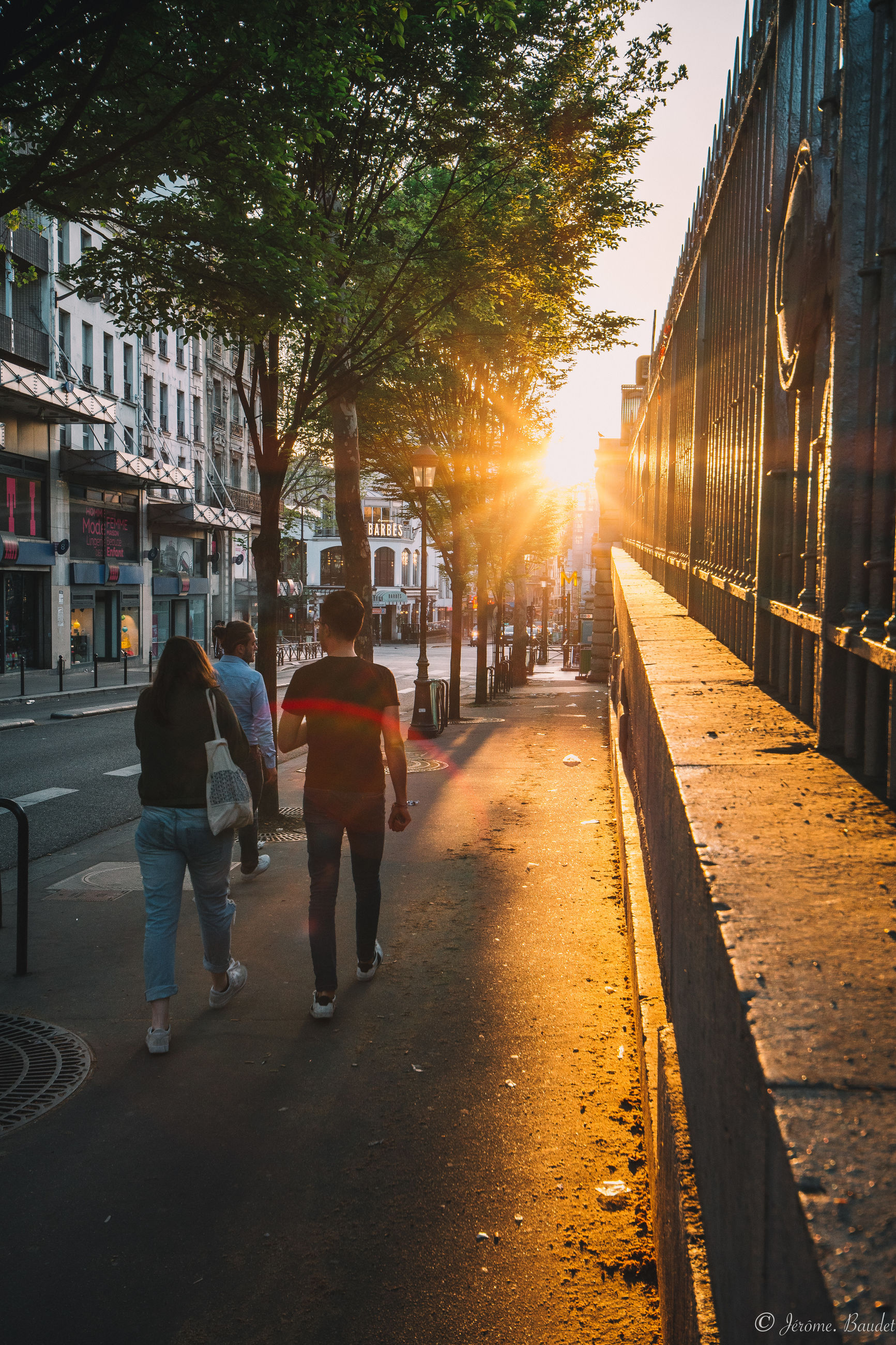 city, tree, street, rear view, direction, transportation, the way forward, real people, walking, architecture, building exterior, nature, plant, built structure, sunset, men, city life, footpath, women, sunlight, lens flare, outdoors, diminishing perspective