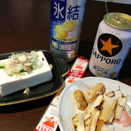 晩酌開始♪ Drinking Beer Sapporo 氷結 松茸 tofu