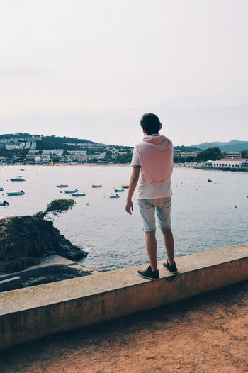 Costa Brava S'Agaró Water Full Length Sea Men Standing Beach Rear View Sky Horizon Over Water Casual Clothing Tranquil Scene Tranquility Ocean