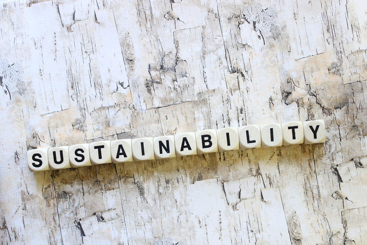 Close-Up Of Sustainability Text Made From Dice On Wooden Table
