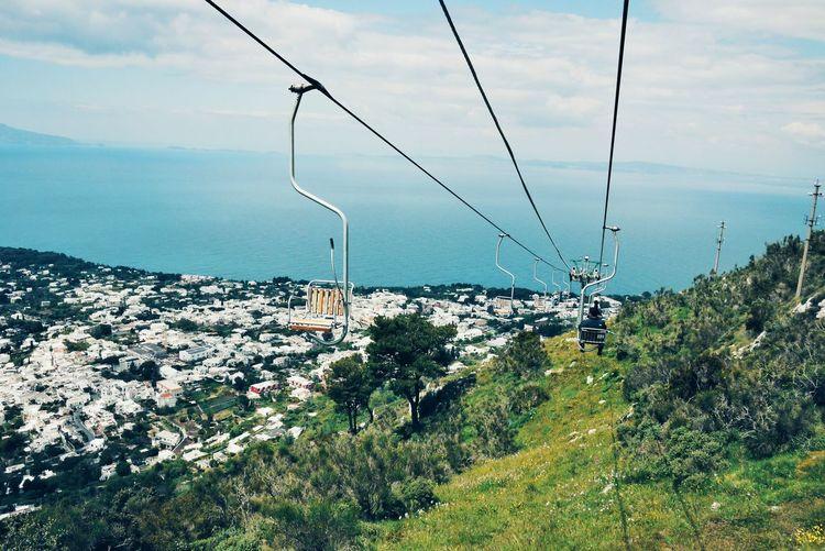Ski Lifts Over Mountain At Capri