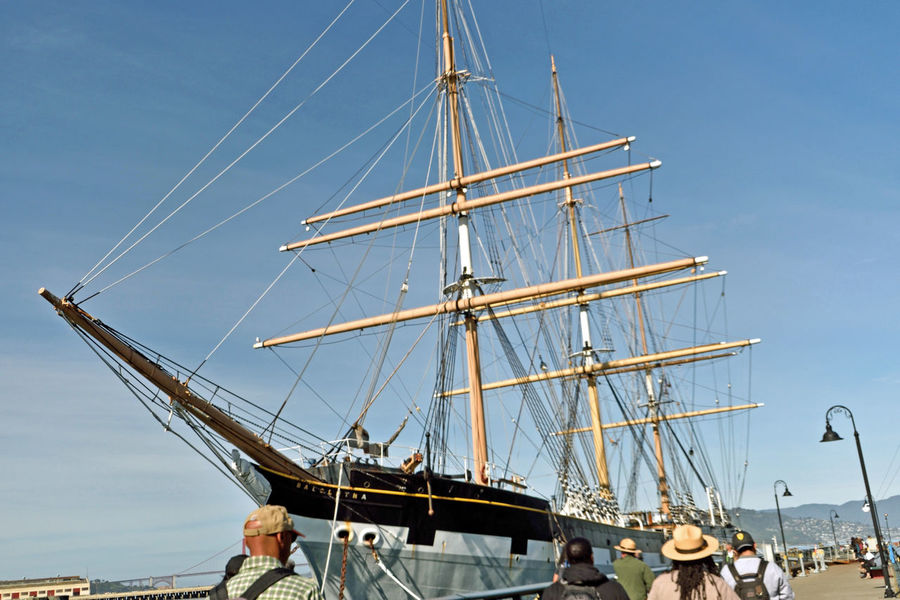 The Balclutha @ Hyde St. Pier 2 San Francisco, Ca. San Francisco Maritime National Historic Park Historic Ship Square-rigged Sailing Ship Cargo Is King 1st Career 1886-99 Grain 2nd Career 1899-1902 Lumber 3rd Career 1902-30 Salmon Onboard Cannery