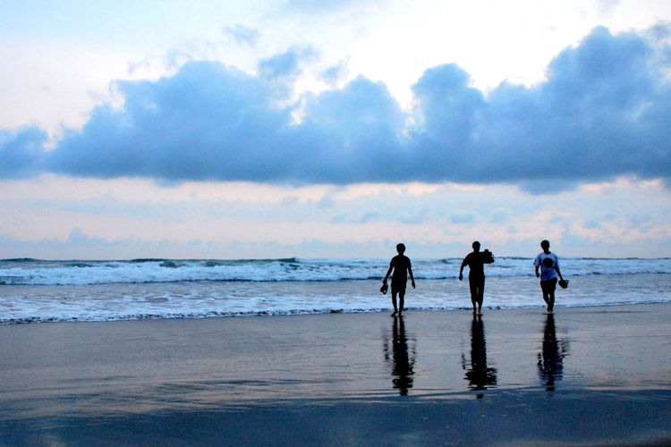 Beach Beach Life Calmness EyeEm Gallery Eyem Best Shots Java Jogjakarta People And Places Reflection_collection Travel Walking By The Beach Waves Crashing Waves, Ocean, Nature Sunrise_sunsets_aroundworld Silhouette EyeEmNewHere Blue Reflective Sky Sillhouette