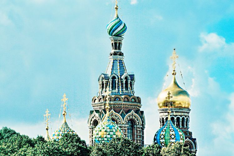 Domes on church of the savior on spilled blood against sky
