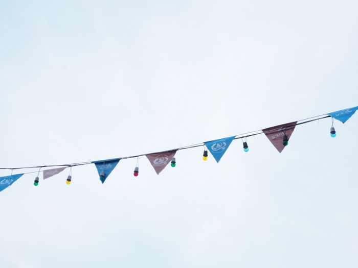 sky scape Blue Bunting Celebration Clear Sky Copy Space Day Decoration Flag Hanging In A Row Low Angle View Multi Colored Nature No People Outdoors Shape Side By Side Sky Streamer Triangle Shape Variation Wind