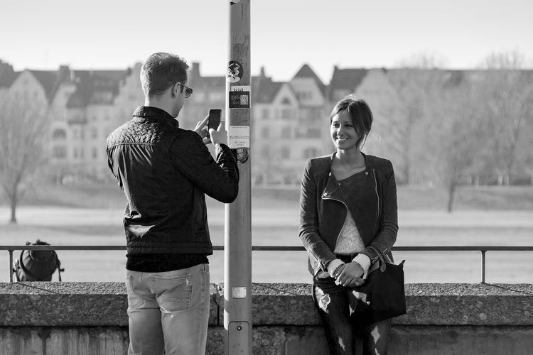 Rheinufer, Duesseldorf, Germany Black & White Black And White Blackandwhite Deutschland Duesseldorf Germany Looking At Camera NRW Taking Photos Taking Photos Of People Taking Photos The Tourist Tourist
