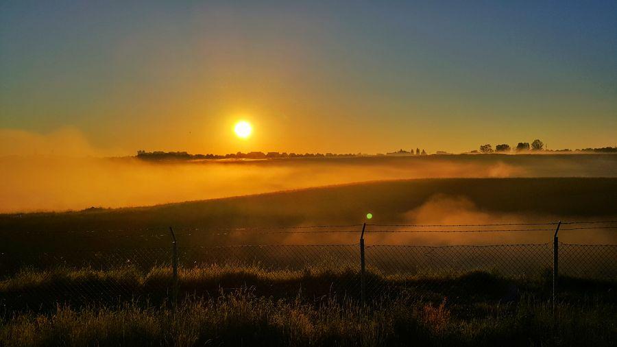 Water Sunset Irrigation Equipment Sun Sky Landscape
