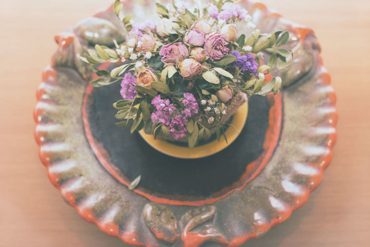 Bouquet Celebration Centerpiece Dead Flowers Flower Flower Head Flowers High Angle View Life Events Pastel Colors Pastel Power Rose - Flower Roses Table Table Flowers Vase Vintage Vintage Flowers Wedding Wedding Bouquet Wedding Ceremony Wedding Photography