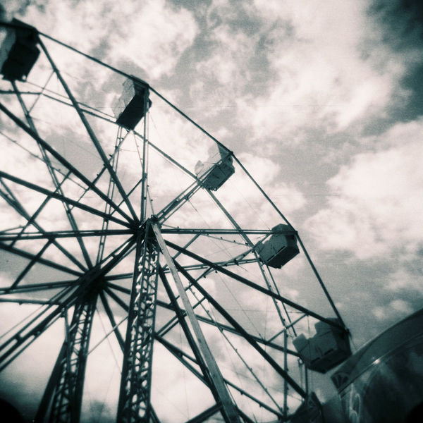 Amusement Park Amusement Park Ride Arts Culture And Entertainment Built Structure Cloud - Sky Day Ferris Wheel Film Film Photography Filmisnotdead Holga Low Angle View Medium Format No People Outdoors Sky